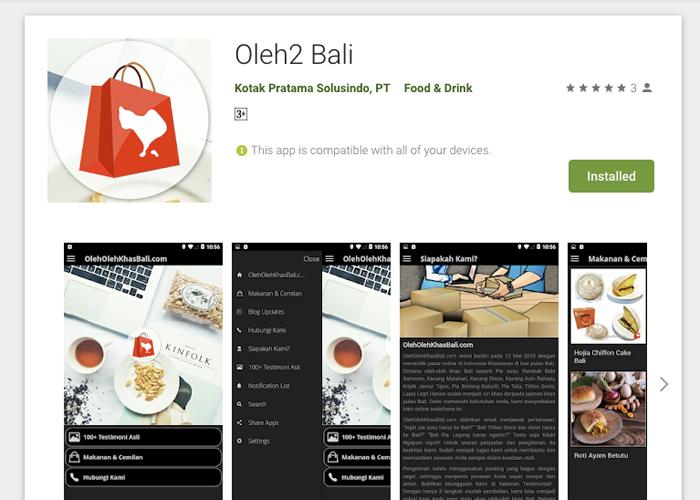 Aplikasi Oleh2 Bali di Google Play Store