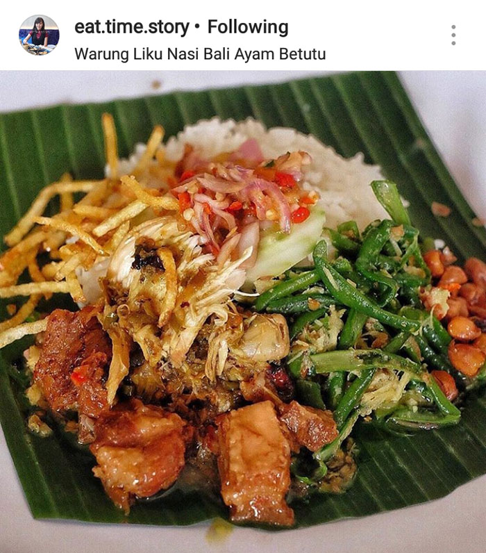 Satu porsi komplit nasi ayam betutu by Warung Liku
