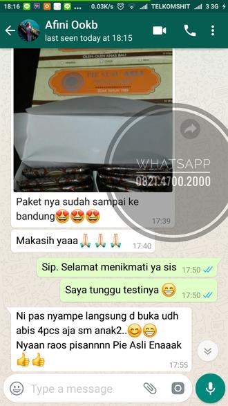 Pie Susu Asli Enaaak terkirim ke Bandung