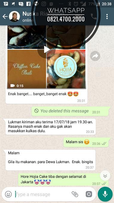 Ibu Nuska Di Jakarta memesan 2 kotak Hojia Cake