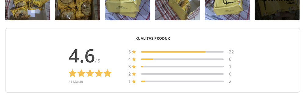 Rating bintang lima produk Pia Eiji jauh lebih banyak